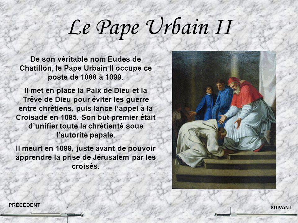 Le Pape Urbain II PRÉCÉDENT SUIVANT De son véritable nom Eudes de Châtillon, le Pape Urbain II occupe ce poste de 1088 à 1099. Il met en place la Paix