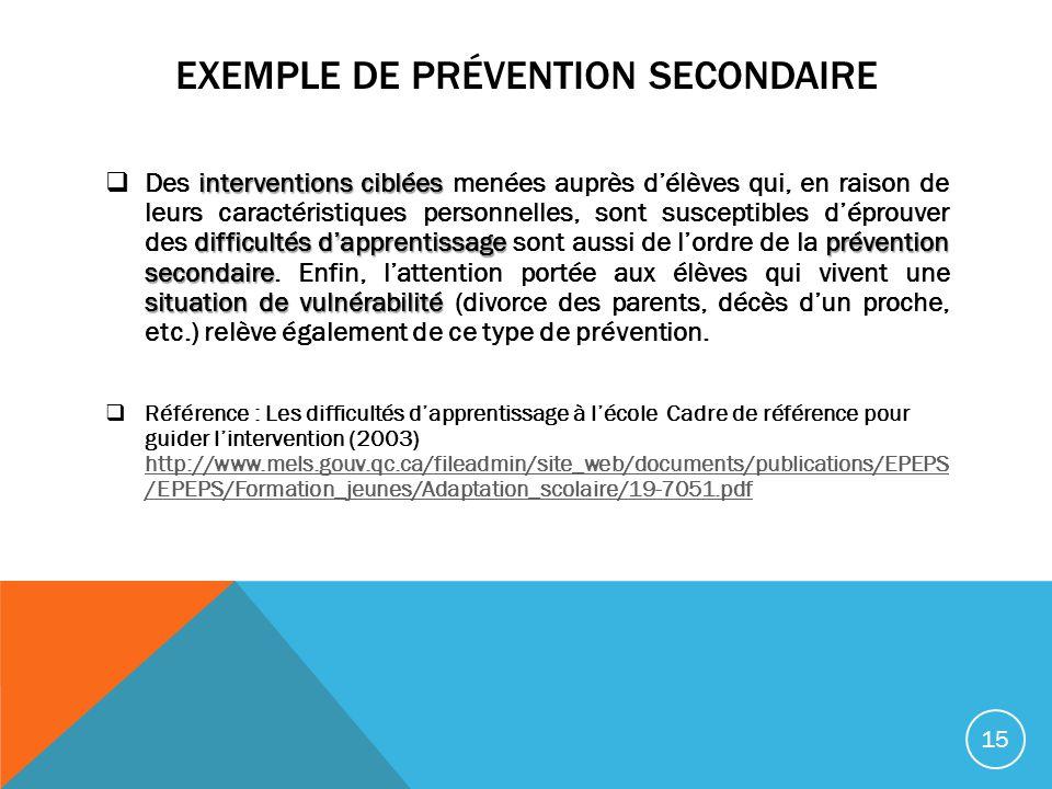 EXEMPLE DE PRÉVENTION SECONDAIRE interventions ciblées difficultés dapprentissage prévention secondaire situation de vulnérabilité Des interventions c