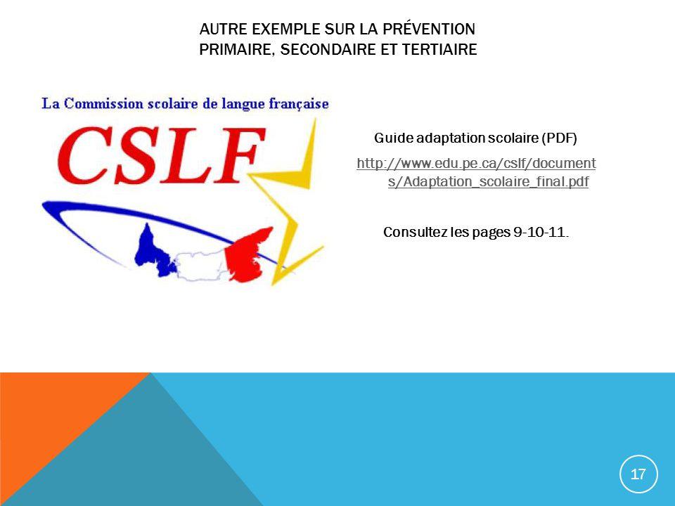 AUTRE EXEMPLE SUR LA PRÉVENTION PRIMAIRE, SECONDAIRE ET TERTIAIRE Guide adaptation scolaire (PDF) http://www.edu.pe.ca/cslf/document s/Adaptation_scol