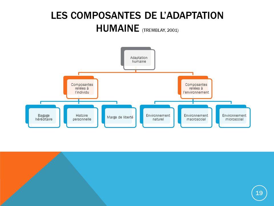 LES COMPOSANTES DE LADAPTATION HUMAINE (TREMBLAY, 2001) Adaptation humaine Composantes reliées à lindividu Bagage héréditaire Histoire personnelle Mar