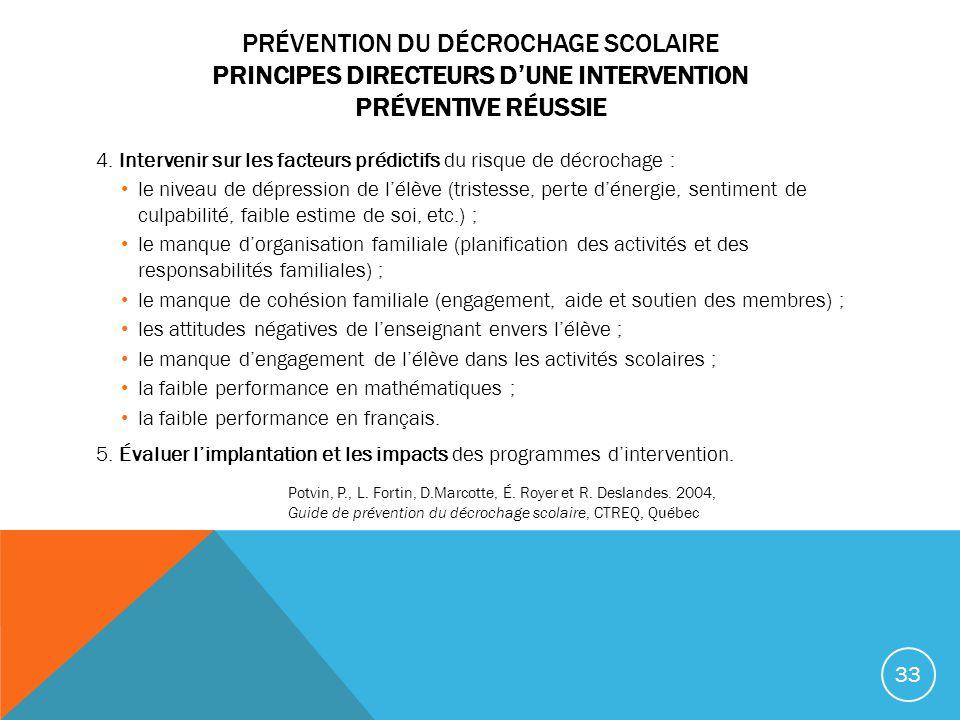 PRÉVENTION DU DÉCROCHAGE SCOLAIRE PRINCIPES DIRECTEURS DUNE INTERVENTION PRÉVENTIVE RÉUSSIE 4. Intervenir sur les facteurs prédictifs du risque de déc