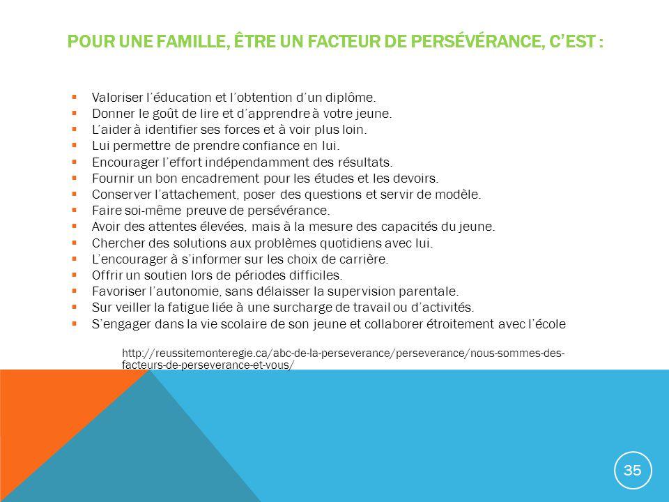 POUR UNE FAMILLE, ÊTRE UN FACTEUR DE PERSÉVÉRANCE, CEST : Valoriser léducation et lobtention dun diplôme. Donner le goût de lire et dapprendre à votre