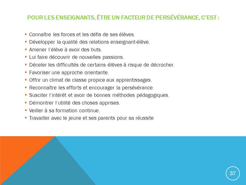 POUR LES ENSEIGNANTS, ÊTRE UN FACTEUR DE PERSÉVÉRANCE, CEST : Connaître les forces et les défis de ses élèves. Développer la qualité des relations ens