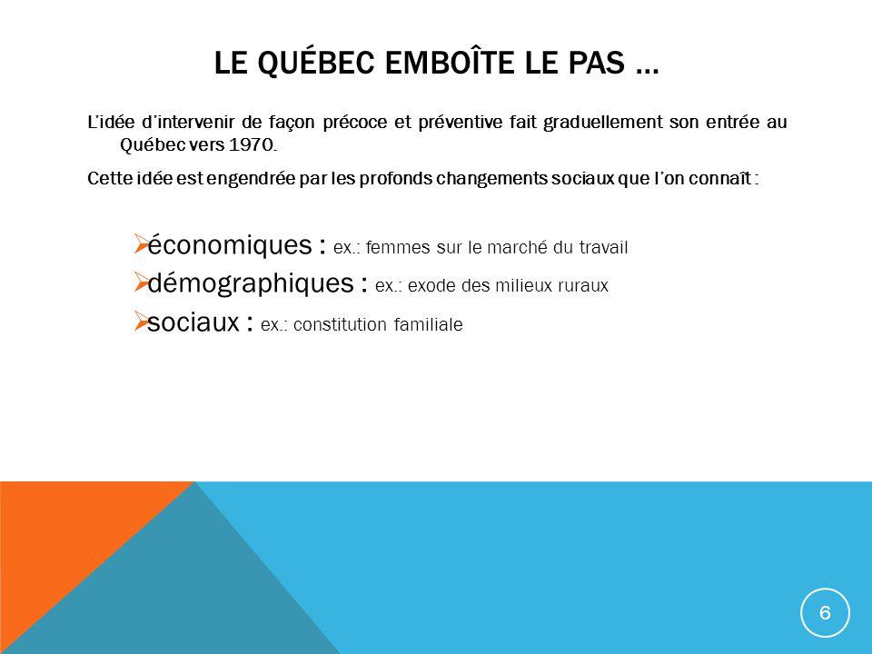 LE QUÉBEC EMBOÎTE LE PAS … Lidée dintervenir de façon précoce et préventive fait graduellement son entrée au Québec vers 1970. Cette idée est engendré