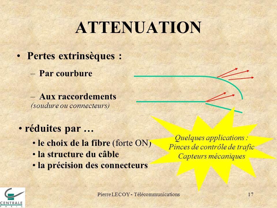 Pierre LECOY - Télécommunications17 ATTENUATION Pertes extrinsèques : –Par courbure –Aux raccordements (soudure ou connecteurs) réduites par … le choi