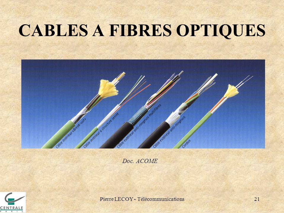 Pierre LECOY - Télécommunications21 CABLES A FIBRES OPTIQUES Doc. ACOME