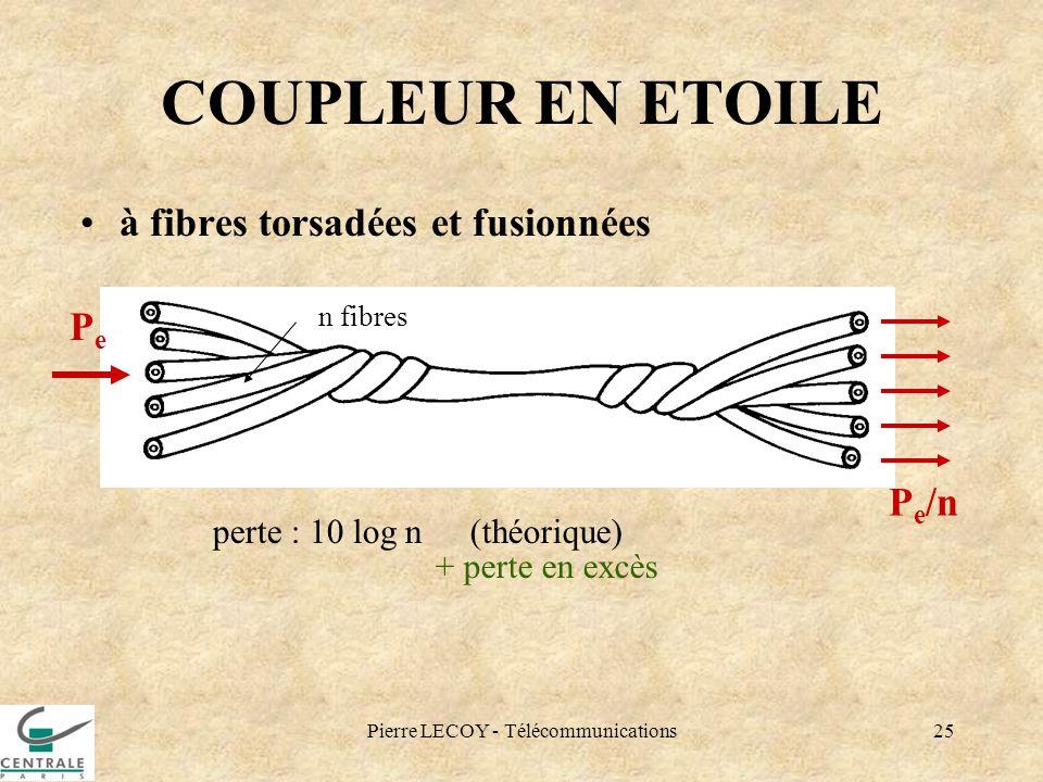 Pierre LECOY - Télécommunications25 COUPLEUR EN ETOILE à fibres torsadées et fusionnées perte : 10 log n(théorique) + perte en excès PePe P e /n n fib