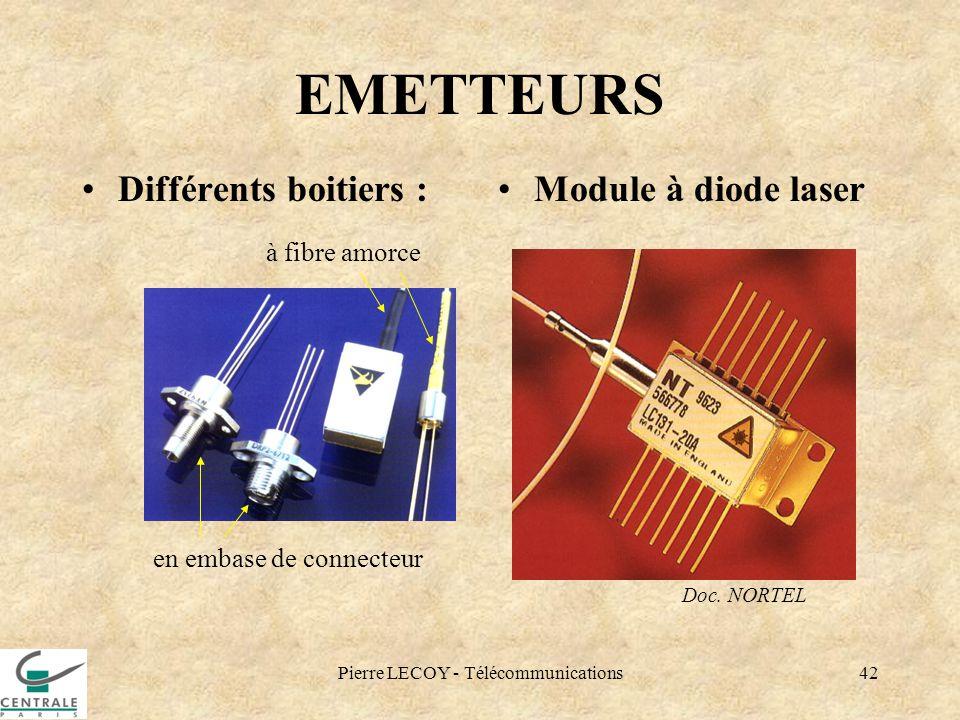 Pierre LECOY - Télécommunications42 EMETTEURS Différents boitiers :Module à diode laser Doc. NORTEL en embase de connecteur à fibre amorce