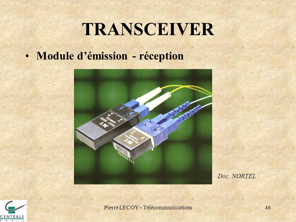 Pierre LECOY - Télécommunications46 TRANSCEIVER Module démission - réception Doc. NORTEL