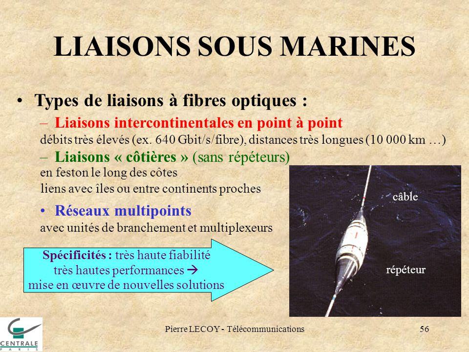 Pierre LECOY - Télécommunications56 LIAISONS SOUS MARINES Types de liaisons à fibres optiques : –Liaisons intercontinentales en point à point débits t