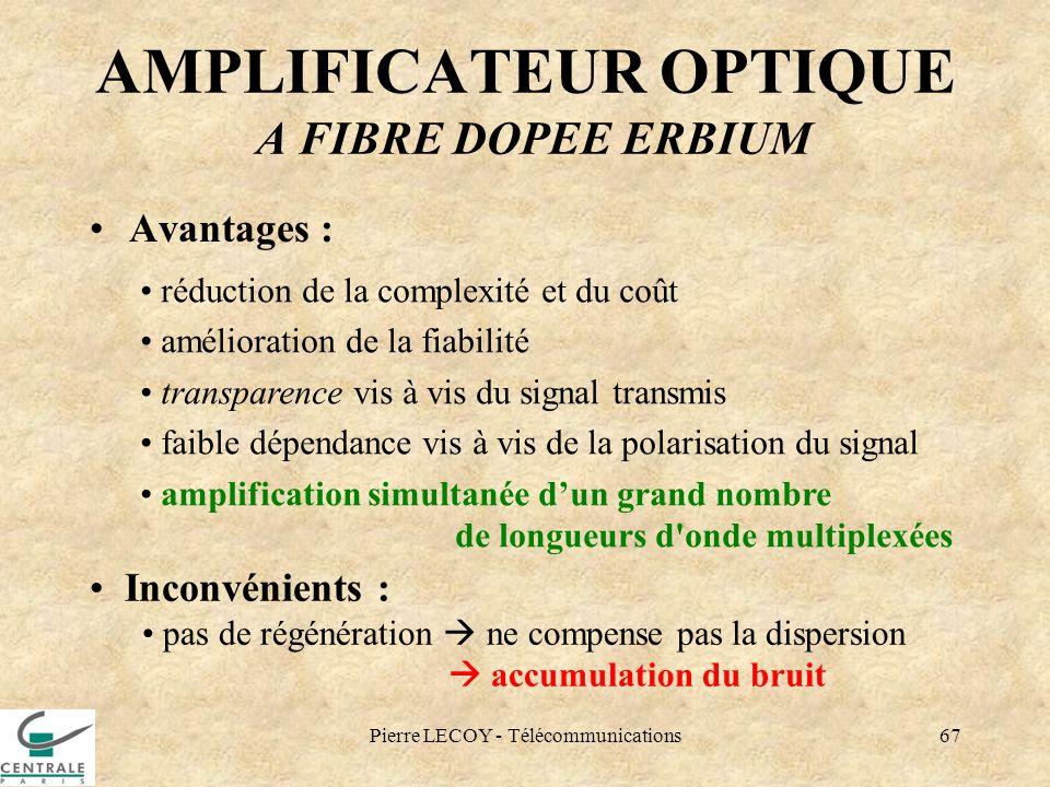 Pierre LECOY - Télécommunications67 AMPLIFICATEUR OPTIQUE A FIBRE DOPEE ERBIUM Avantages : réduction de la complexité et du coût amélioration de la fi
