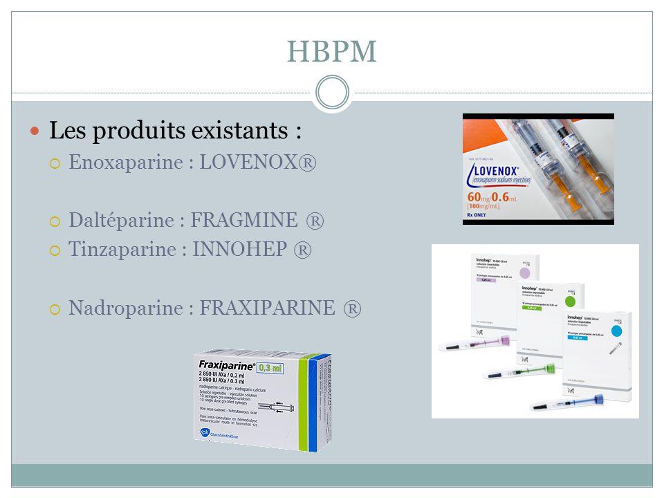 HBPM Les produits existants : Enoxaparine : LOVENOX® Daltéparine : FRAGMINE ® Tinzaparine : INNOHEP ® Nadroparine : FRAXIPARINE ®