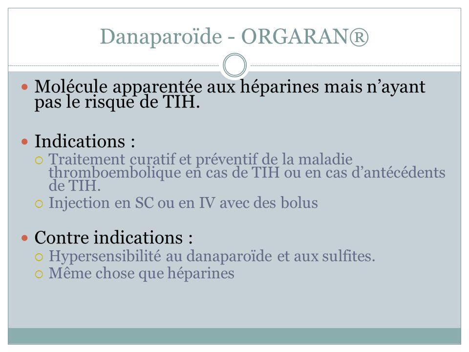 Danaparoïde - ORGARAN® Molécule apparentée aux héparines mais nayant pas le risque de TIH. Indications : Traitement curatif et préventif de la maladie