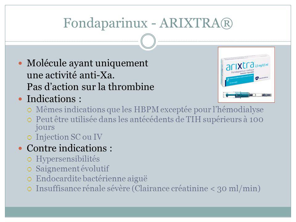 Fondaparinux - ARIXTRA® Molécule ayant uniquement une activité anti-Xa. Pas daction sur la thrombine Indications : Mêmes indications que les HBPM exce