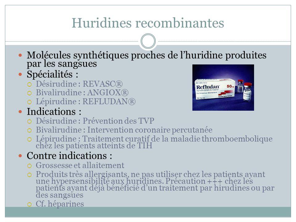 Huridines recombinantes Molécules synthétiques proches de lhuridine produites par les sangsues Spécialités : Désirudine : REVASC® Bivalirudine : ANGIO