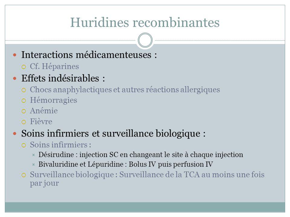 Huridines recombinantes Interactions médicamenteuses : Cf. Héparines Effets indésirables : Chocs anaphylactiques et autres réactions allergiques Hémor