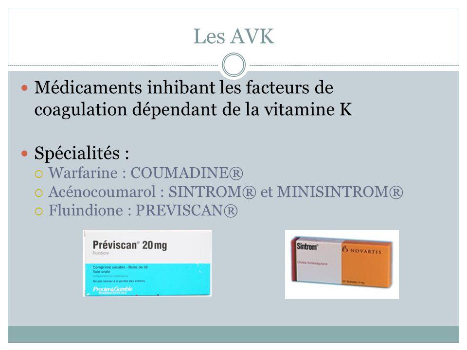 Les AVK Médicaments inhibant les facteurs de coagulation dépendant de la vitamine K Spécialités : Warfarine : COUMADINE® Acénocoumarol : SINTROM® et M