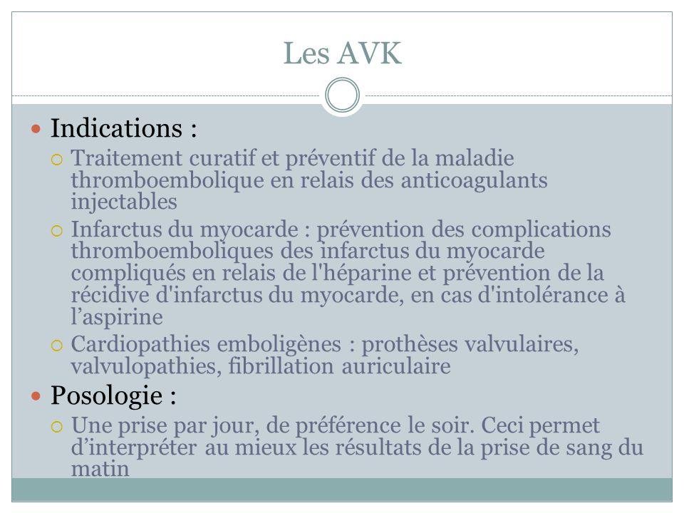 Les AVK Indications : Traitement curatif et préventif de la maladie thromboembolique en relais des anticoagulants injectables Infarctus du myocarde :
