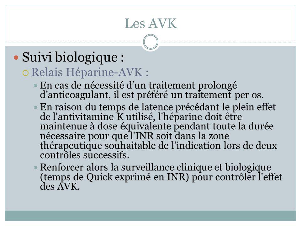 Les AVK Suivi biologique : Relais Héparine-AVK : En cas de nécessité dun traitement prolongé danticoagulant, il est préféré un traitement per os. En r