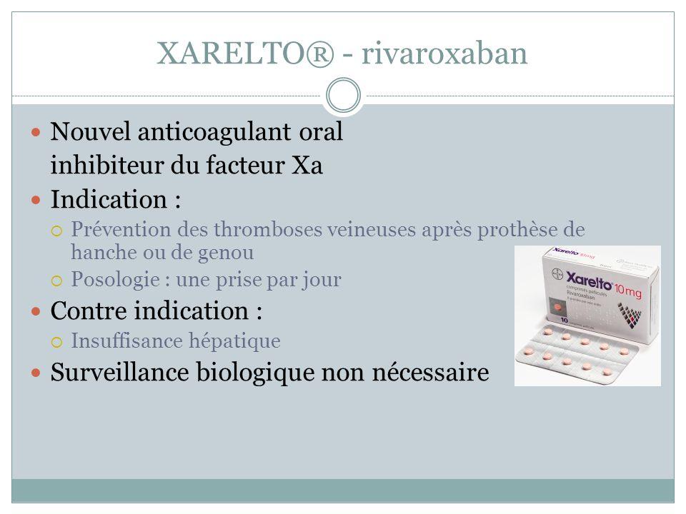XARELTO® - rivaroxaban Nouvel anticoagulant oral inhibiteur du facteur Xa Indication : Prévention des thromboses veineuses après prothèse de hanche ou