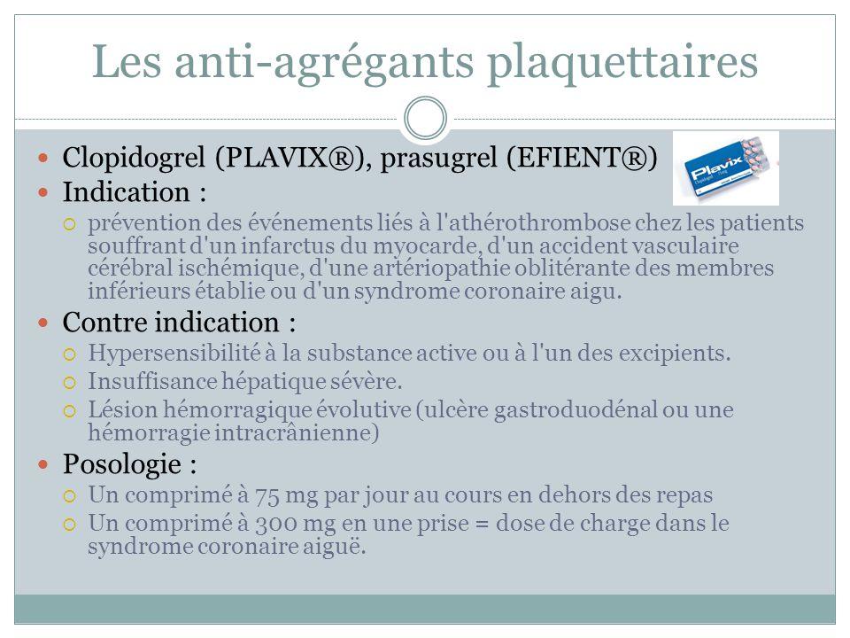 Les anti-agrégants plaquettaires Clopidogrel (PLAVIX®), prasugrel (EFIENT®) Indication : prévention des événements liés à l'athérothrombose chez les p