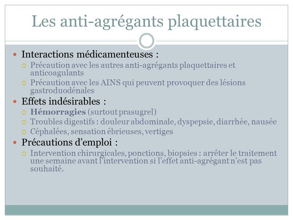 Les anti-agrégants plaquettaires Interactions médicamenteuses : Précaution avec les autres anti-agrégants plaquettaires et anticoagulants Précaution a