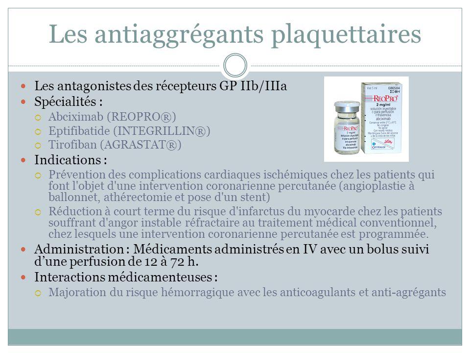 Les antiaggrégants plaquettaires Les antagonistes des récepteurs GP IIb/IIIa Spécialités : Abciximab (REOPRO®) Eptifibatide (INTEGRILLIN®) Tirofiban (