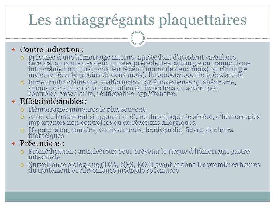 Les antiaggrégants plaquettaires Contre indication : présence d'une hémorragie interne, antécédent d'accident vasculaire cérébral au cours des deux an