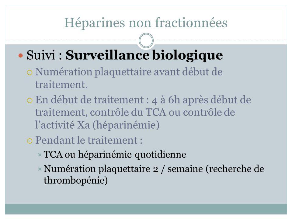 Héparines non fractionnées Suivi : Surveillance biologique Numération plaquettaire avant début de traitement. En début de traitement : 4 à 6h après dé