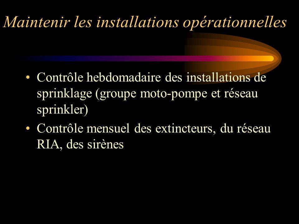 Maintenir les installations opérationnelles Contrôle hebdomadaire des installations de sprinklage (groupe moto-pompe et réseau sprinkler) Contrôle men