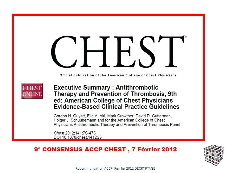 TOUJOURS mettre en balance le risque de MTEV du patient et le risque de MTEV de lacte chirurgical Recommandation ACCP Février 2012 DECRYPTAGE