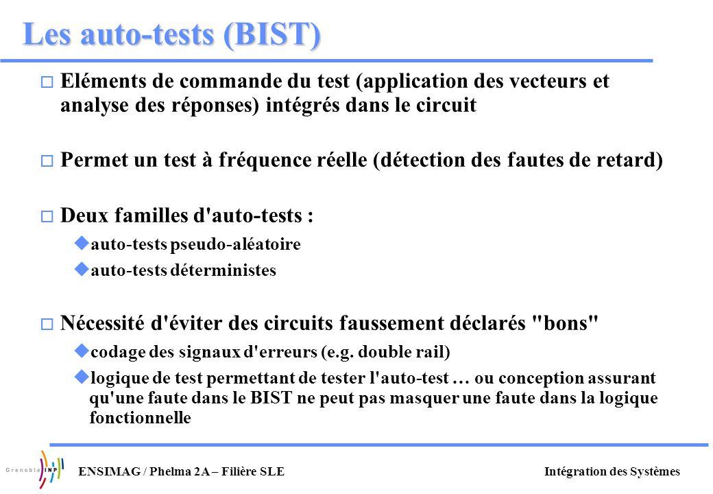 Intégration des SystèmesENSIMAG / Phelma 2A – Filière SLE Les auto-tests (BIST) o Eléments de commande du test (application des vecteurs et analyse de