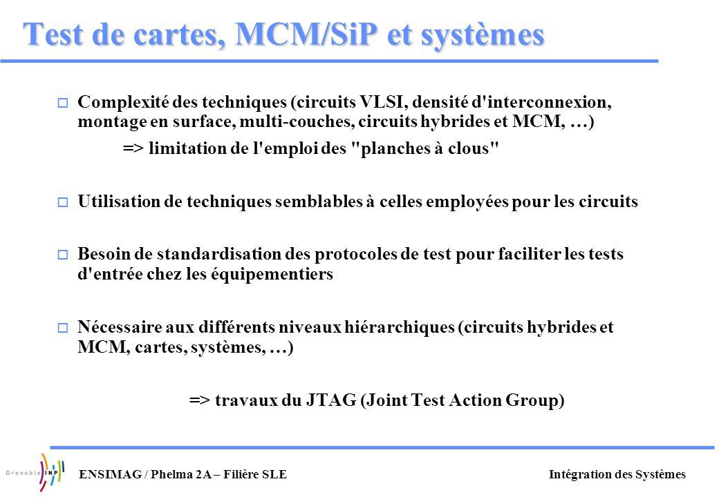 Intégration des SystèmesENSIMAG / Phelma 2A – Filière SLE Test de cartes, MCM/SiP et systèmes o Complexité des techniques (circuits VLSI, densité d'in