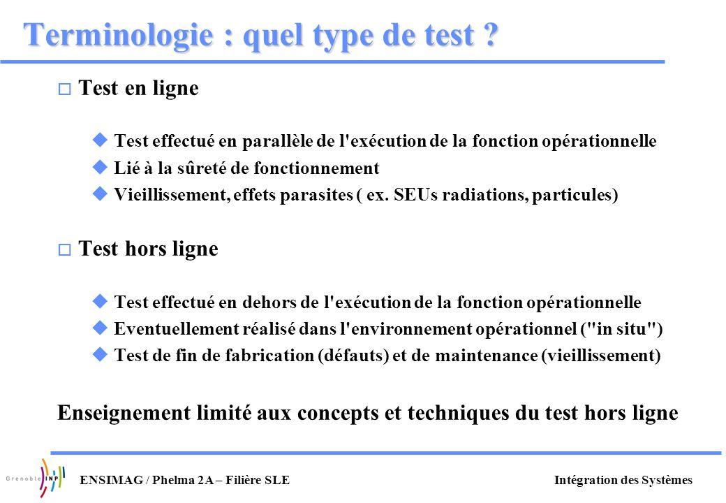 Intégration des SystèmesENSIMAG / Phelma 2A – Filière SLE Terminologie : quel type de test ? o Test en ligne u Test effectué en parallèle de l'exécuti