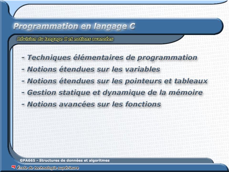 121 Fonctions récursives Aussi, plusieurs algorithmes itératifs peuvent facilement être modifier en algorithmes récursifs Un exemple simple de transformation algorithmique : le parcours dune boucle void AfficheTousLesNombres2Chiffres_Iteratif(int APartirDuNombre) { for (int i = APartirDuNombre; i < 100; i++) { printf( %d\n , i); } void AfficheTousLesNombres2Chiffres_Recursif(int APartirDuNombre) { if (APartirDuNombre < 100) { printf( %d\n , APartirDuNombre); AfficheTousLesNombres_Recursif(APartirDuNombre + 1); }