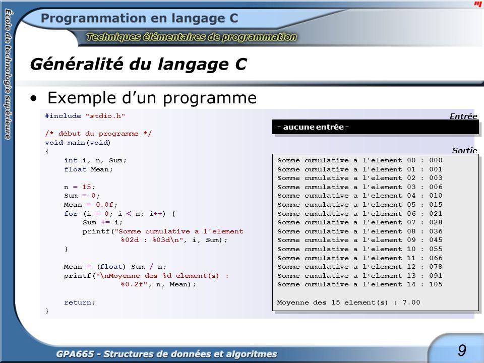 9 Généralité du langage C Exemple dun programme #include