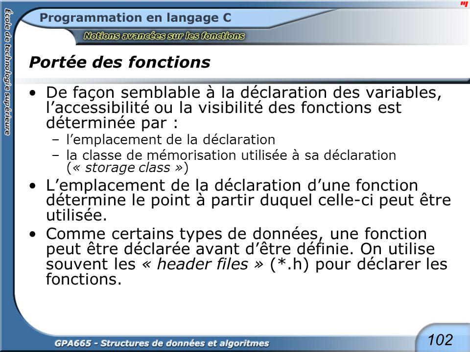 102 Portée des fonctions De façon semblable à la déclaration des variables, laccessibilité ou la visibilité des fonctions est déterminée par : –lempla