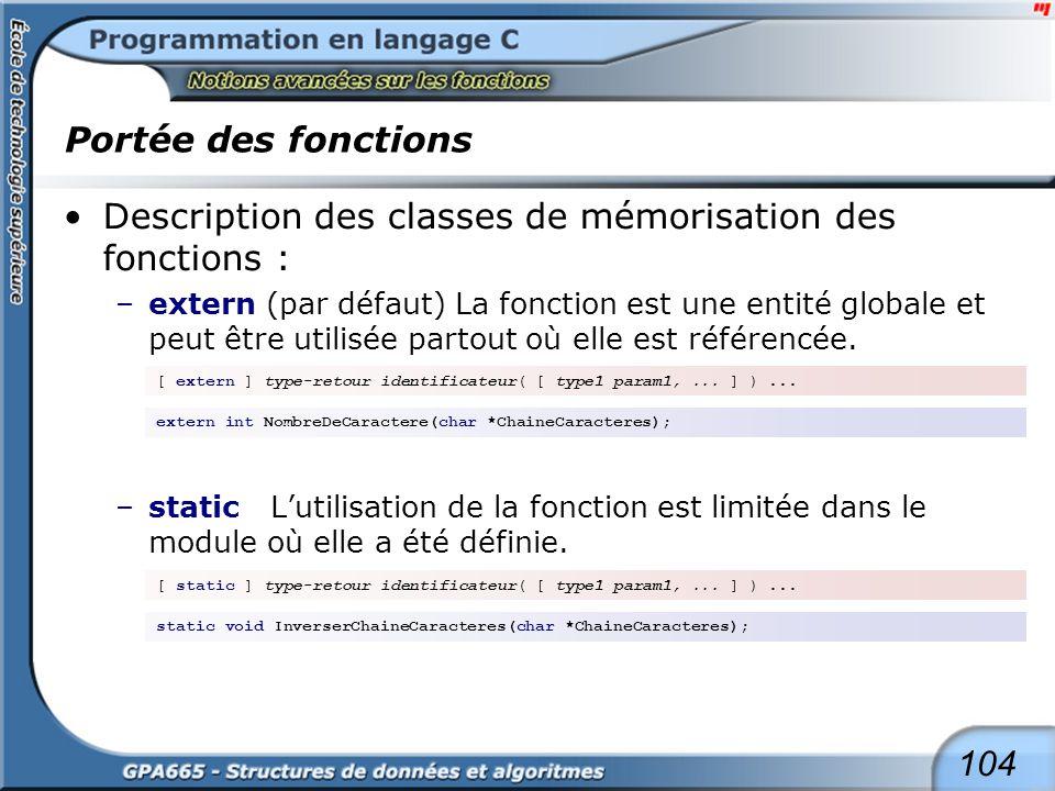 104 Portée des fonctions Description des classes de mémorisation des fonctions : –extern (par défaut) La fonction est une entité globale et peut être