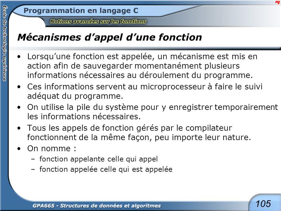 105 Mécanismes dappel dune fonction Lorsquune fonction est appelée, un mécanisme est mis en action afin de sauvegarder momentanément plusieurs informa