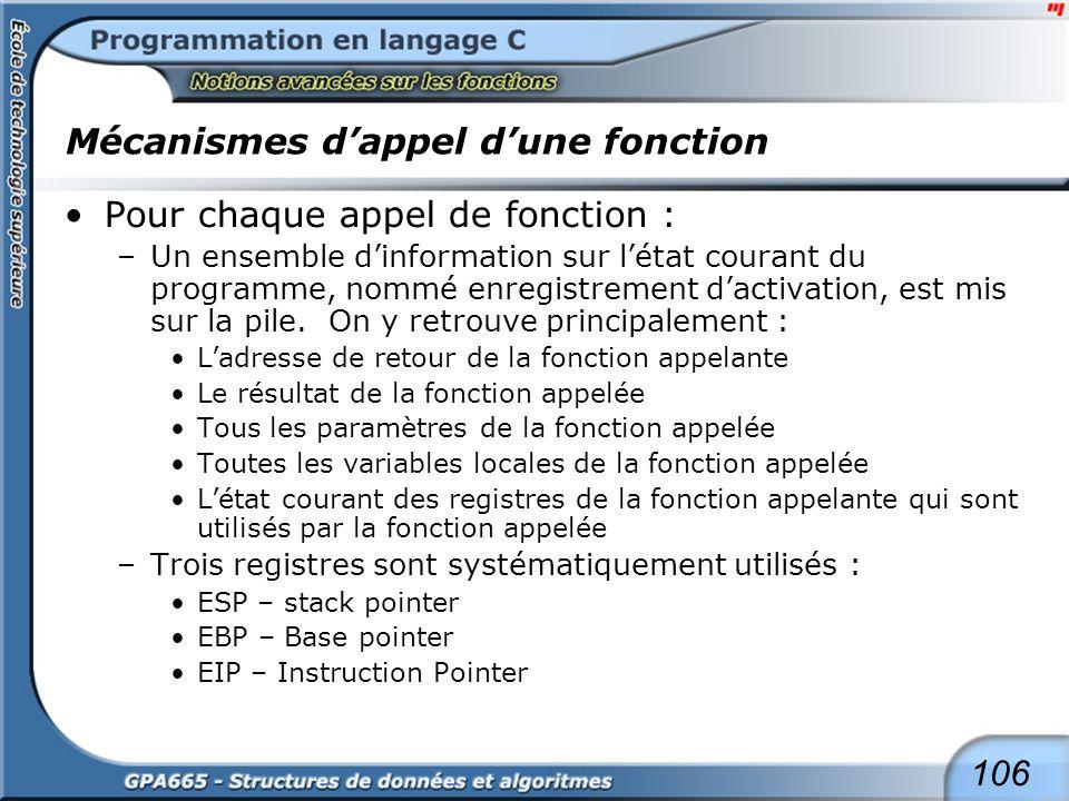 106 Mécanismes dappel dune fonction Pour chaque appel de fonction : –Un ensemble dinformation sur létat courant du programme, nommé enregistrement dac