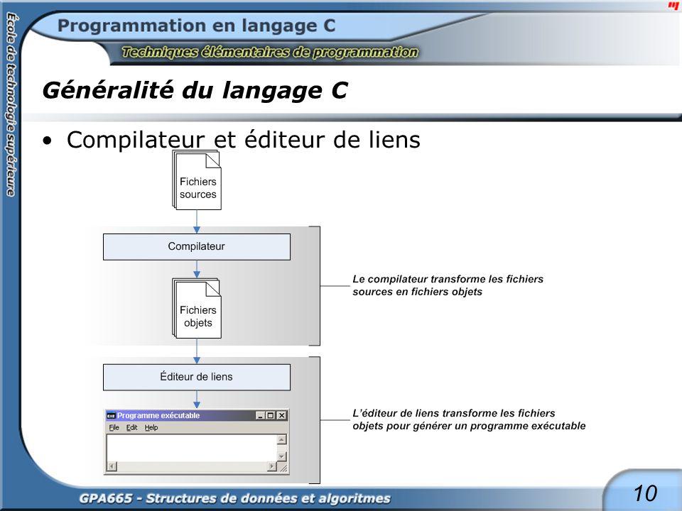10 Généralité du langage C Compilateur et éditeur de liens