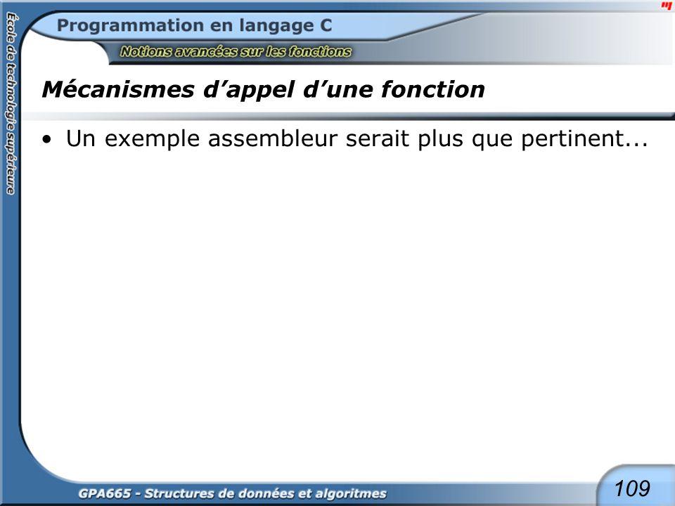 109 Mécanismes dappel dune fonction Un exemple assembleur serait plus que pertinent...