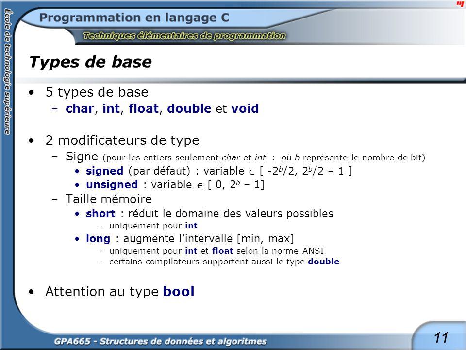 11 Types de base 5 types de base –char, int, float, double et void 2 modificateurs de type –Signe (pour les entiers seulement char et int : où b repré