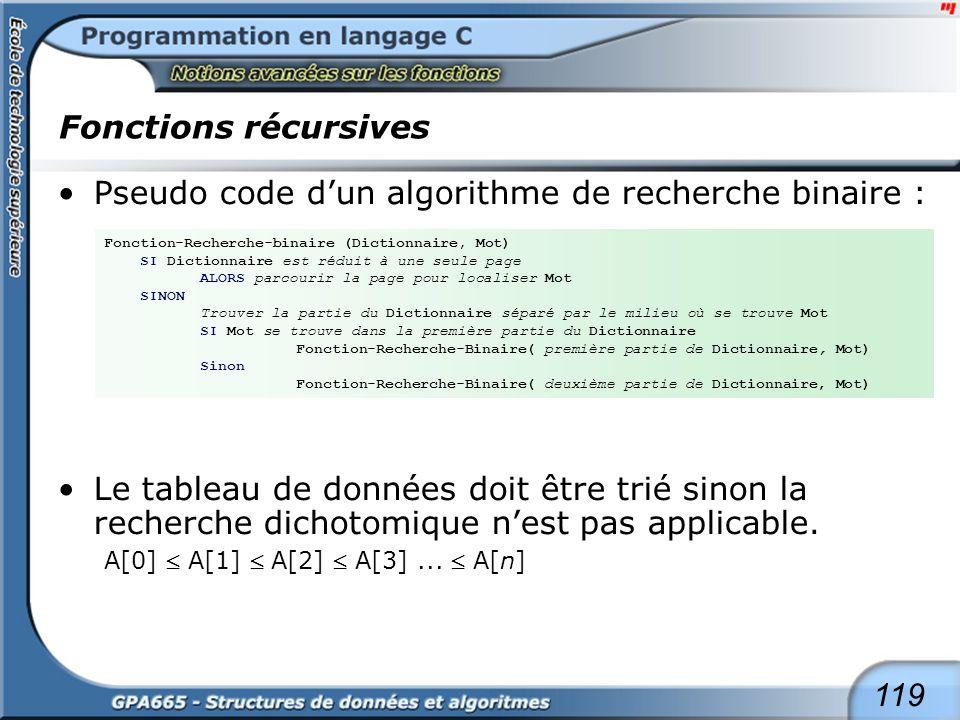 119 Fonctions récursives Pseudo code dun algorithme de recherche binaire : Le tableau de données doit être trié sinon la recherche dichotomique nest p