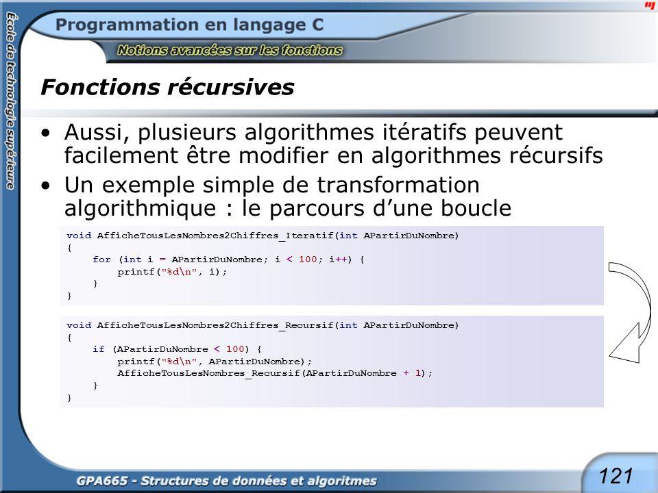 121 Fonctions récursives Aussi, plusieurs algorithmes itératifs peuvent facilement être modifier en algorithmes récursifs Un exemple simple de transfo
