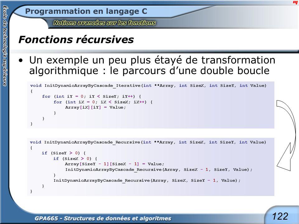 122 Fonctions récursives Un exemple un peu plus étayé de transformation algorithmique : le parcours dune double boucle void InitDynamicArrayByCascade_