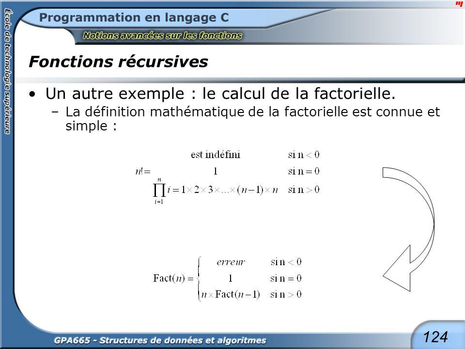 124 Fonctions récursives Un autre exemple : le calcul de la factorielle. –La définition mathématique de la factorielle est connue et simple :