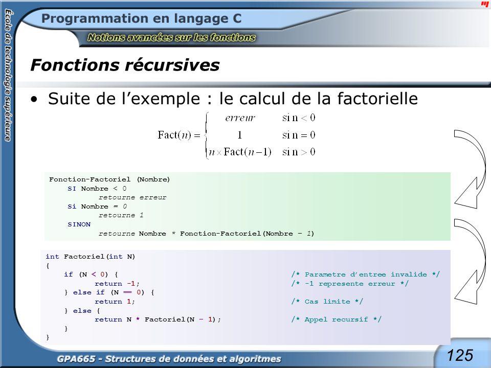 125 Fonctions récursives Suite de lexemple : le calcul de la factorielle Fonction-Factoriel (Nombre) SI Nombre < 0 retourne erreur Si Nombre = 0 retou