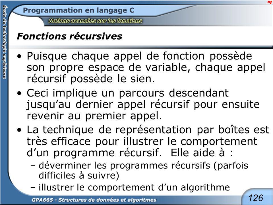 126 Fonctions récursives Puisque chaque appel de fonction possède son propre espace de variable, chaque appel récursif possède le sien. Ceci implique