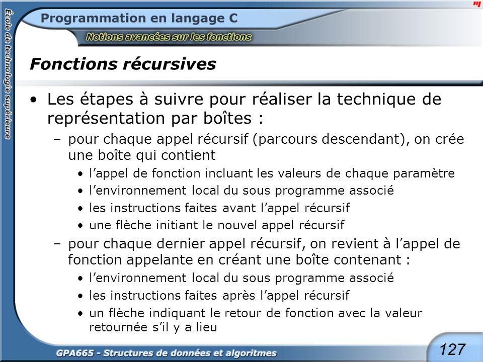 127 Fonctions récursives Les étapes à suivre pour réaliser la technique de représentation par boîtes : –pour chaque appel récursif (parcours descendan